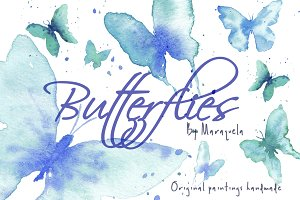 Watercolor Butterflies Clip Art Blue