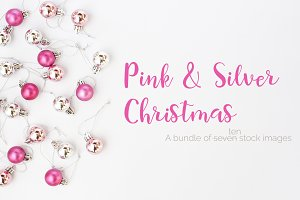 Pink & Silver Christmas Stock Images