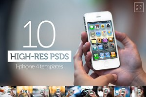 10 iPhone4s PSD Templates (high-res)
