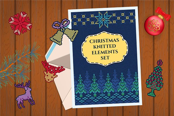 Christmas Knitted Big Elements Set