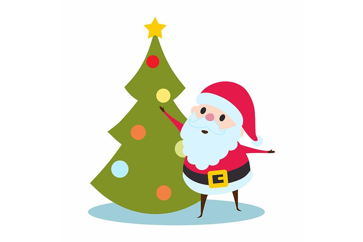 santa claus and christmas tree illustrations creative market