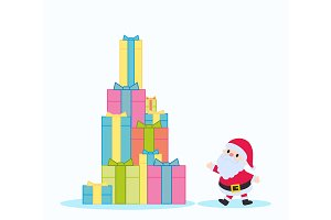 Santa Claus and gift boxes