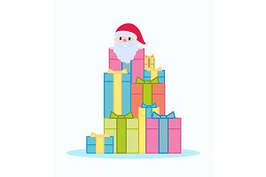 Santa Claus sitting on gift boxes
