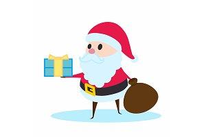 Santa Claus holding a gift.