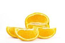 Fresh orange fruit cut