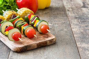 Vegetable skewers and ingredients
