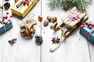 Santa sleigh and gift