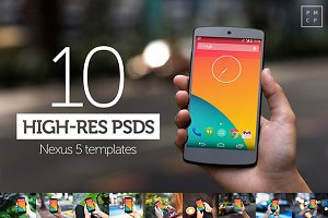 10 Nexus5 PSD Templates (high-res)