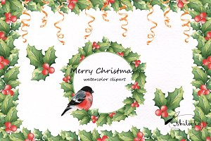 Merry Christmas. Watercolor clipart