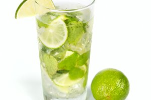 Mohito mojito drink with ice mint with lime