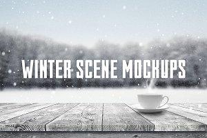 Winter scene mockups