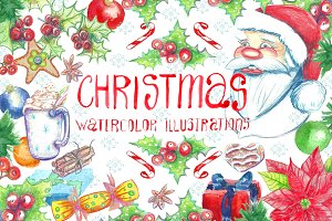 Christmas. Watercolor clip art.