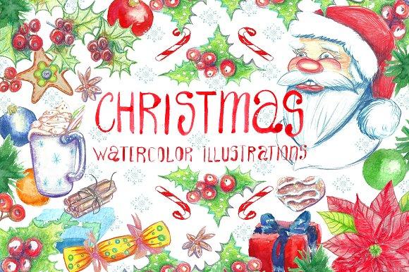 Christmas. Watercolor clip art.