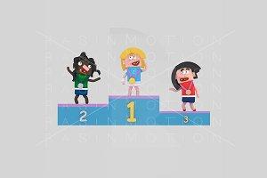 3d Illustration. Podium Girls.