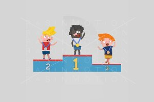 3d Illustration. Podium Kids.