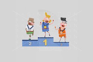 3d Illustration. Podium Men.