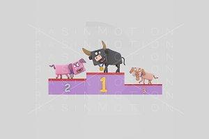 3d Illustration. Podium Animals.