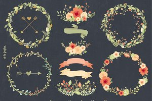 Chalkboard Natural Floral Wreaths II