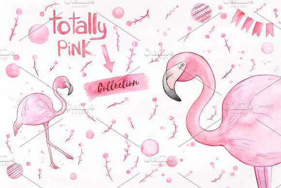 Totally Pink set + free backgrounds in Illustrations