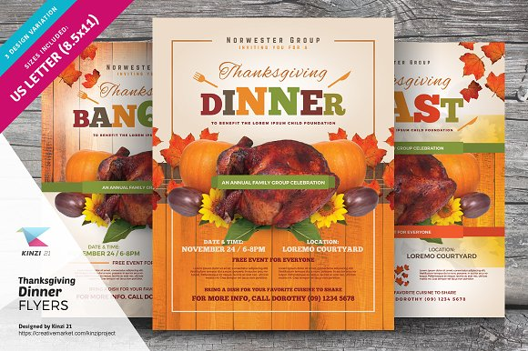 Thanksgiving Dinner Flyer Templates ~ Flyer Templates ~ Creative Market
