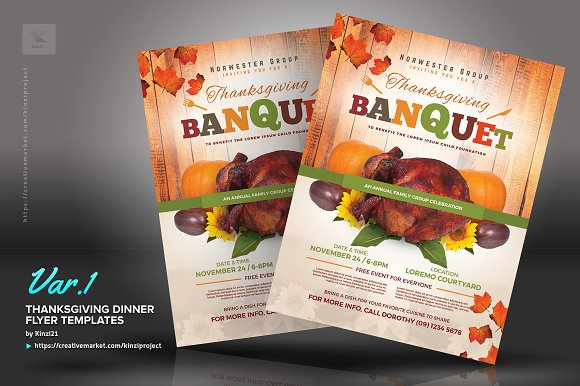 thanksgiving dinner flyer templates flyer templates creative market