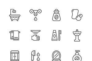 Set line icons of bathroom