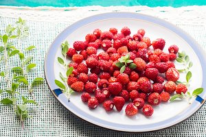Wild strawberries on a plate. Angle view