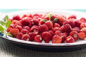 Fresh wild strawberries on a plate