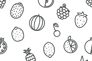 Seamless Line art fruit