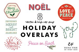Holiday Illustration Photo Overlays