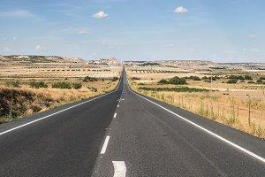 Long asphalt road
