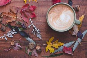 Latte Coffee in Fall Foilage