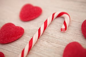 Candy canes and heart-shaped candies