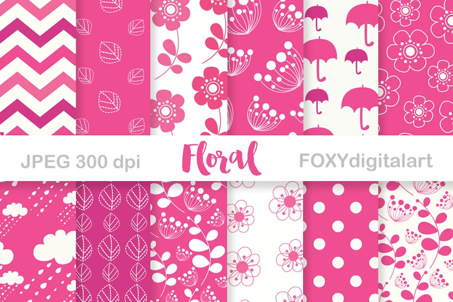 Digital Paper Floral Pink