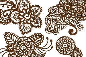 Collection of 4 mehndi patterns