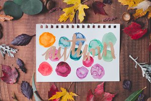 Autumn Watercolor with Fall Foilage