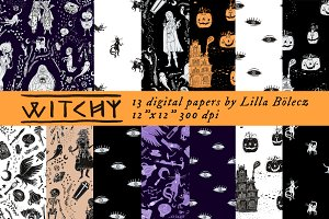 Witchy Halloween Digital Papers