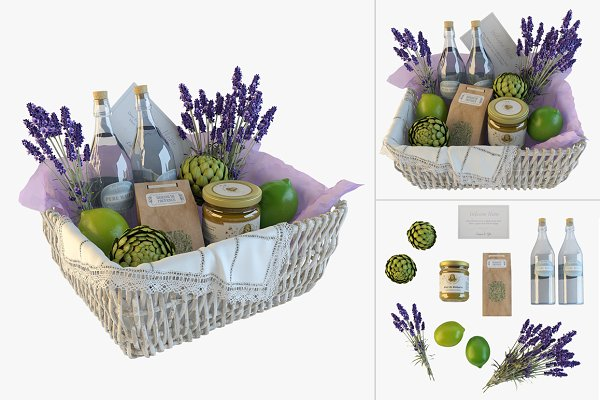 3D Objects - Provence decor basket