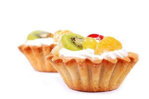 cupcakes with cream and fruits