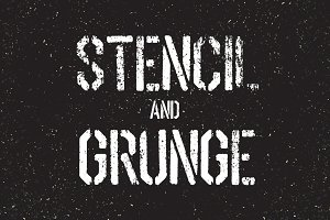 Stencil font and grunge textures set