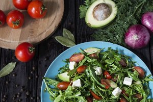 fresh rocket salad with feta