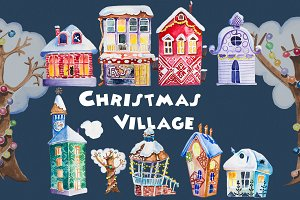 Watercolor Christmas Village Clipart