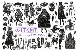 Witchy Halloween Clip Art