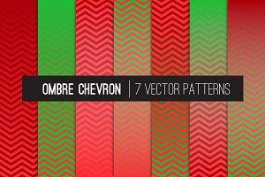 Vector Ombre Chevron Red Green Xmas