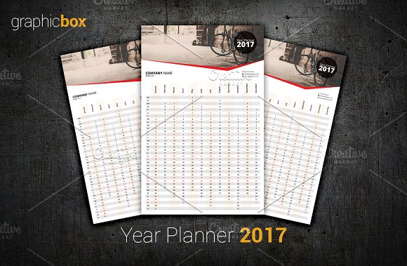 Year Planner 2017 in Stationery Templates - product preview 1