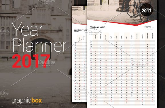 Year Planner 2017 in Stationery Templates - product preview 2