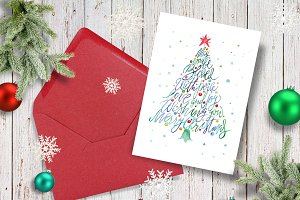 Christmas tree watercolor card