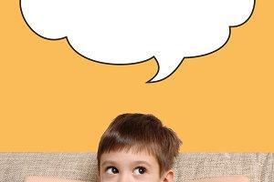 Happy boy and speech bubble
