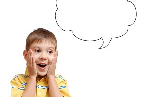 Surprised child and speech bubble