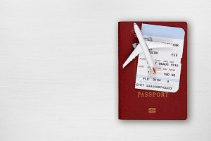 Passport, boarding pass and airplane